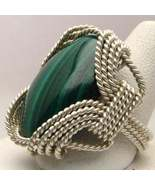 Hand Made Wire Wrapped Malachite Sterling Silve... - $130.00