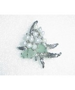 Jade & Freshwater Pearl Sterling Silver Leaf Br... - $27.00