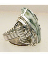 Wire Wrapped 925 Sterling Green Tree Agate Ring - $130.00