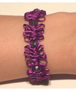 OOAK Purple satin and bead bracelet - $8.00