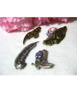 Vintage Repousse Brooch/Pin Lot of 4 - $9.99