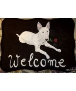 Bull Terrier Dog Custom Painted Welcome Sign Pl... - $35.00