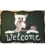 Chinese Crested Dog Custom Painted Welcome Sign... - $35.00