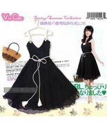 Sleeveless V-Neck Black Silk Crepe Surplice Dress  - $5.00