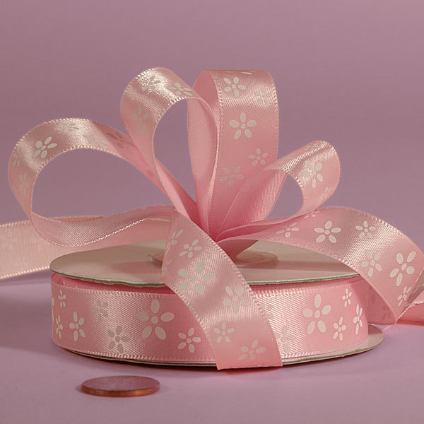 Satin Ribbon Pink w White Flowers 5/8 Inch