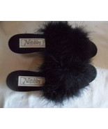 Perfect 1940's NWOT Satin Maribou Bedroom or House Slippers Slides Shoes Black