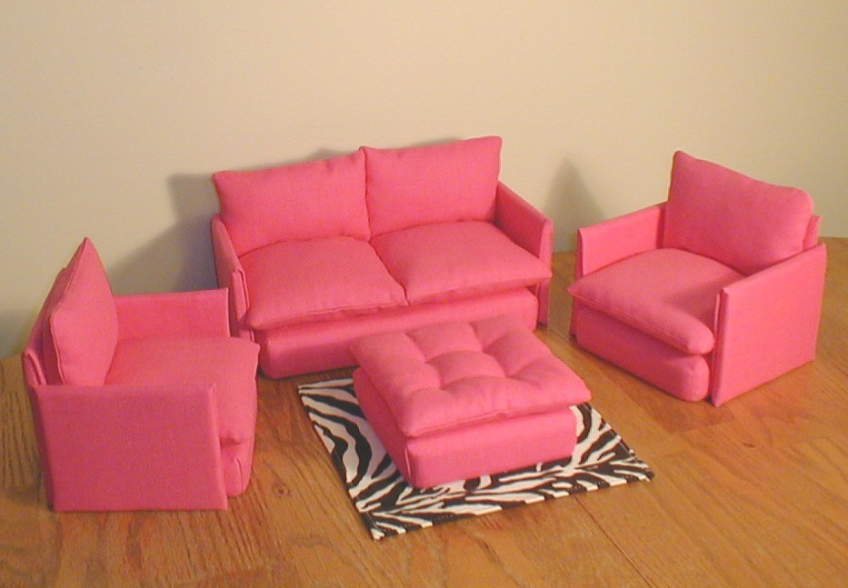 Barbie furniture living room set pink and zebra print blythe bratz