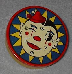Vintage Kirchhhof Round Clown Tin Wood Handle Noise Maker