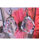 Earrings Sterling Silver Huge Chunky Clear Crys... - $9.99