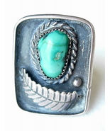Vintage Navajo Ring Rectangular with Turquoise ... - $65.00