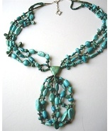 Santo Domingo Blue Turquoise Necklace with Jaclas - $195.00