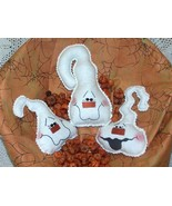 Ghostly Trio~~Folk Art Pattern Bz - $11.95