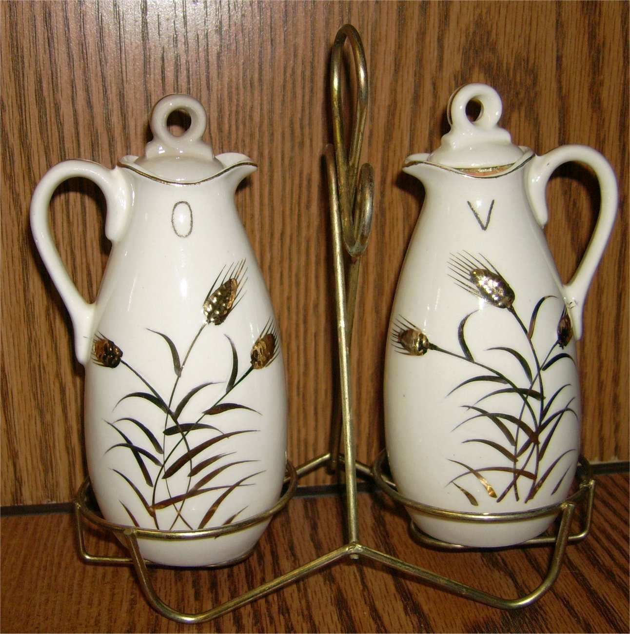 Vintage Golden Wheat Oil and Vinegar Cruets