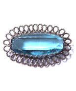 Art Deco Czech Glass Brooch Aquamarine Huge Fac... - $30.00