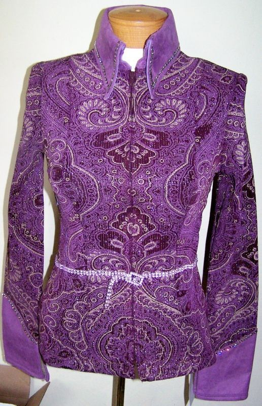 LAVENDER BELTED SHOWMANSHIP PLEASURE RAIL SHOW SWAROVSKI CRYSTAL JACKET X SMALL