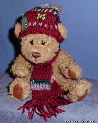 Dooley Brass Button Bear Jointed Bickford Bears Brown Red Scarf Hat Christmas