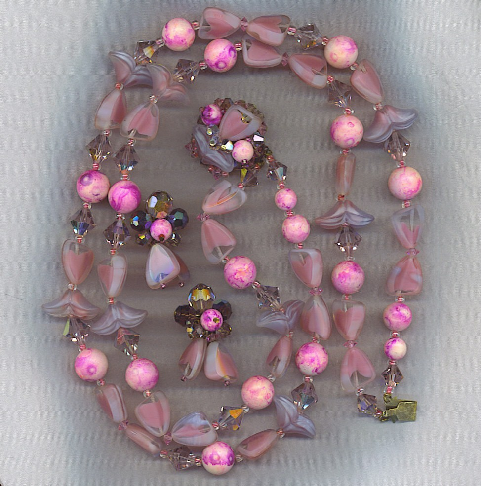 SALE! Stunning Vtg. Art Glass Necklace and Earrings