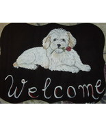 Coton De Tulear Dog Custom Painted Welcome Sign... - $35.00