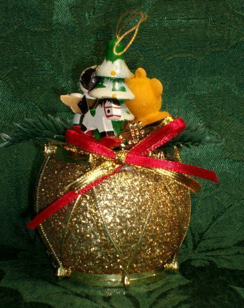 Vintage Handmade & Refurbished GLITTER DRUM Christmas Ornament - One Of A Kind!