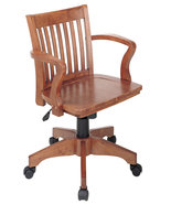 Fruitwood finish Mission Style Swivel Bankers O... - $142.00