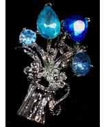 Blue Crystal & Silver Brooch - $3.95