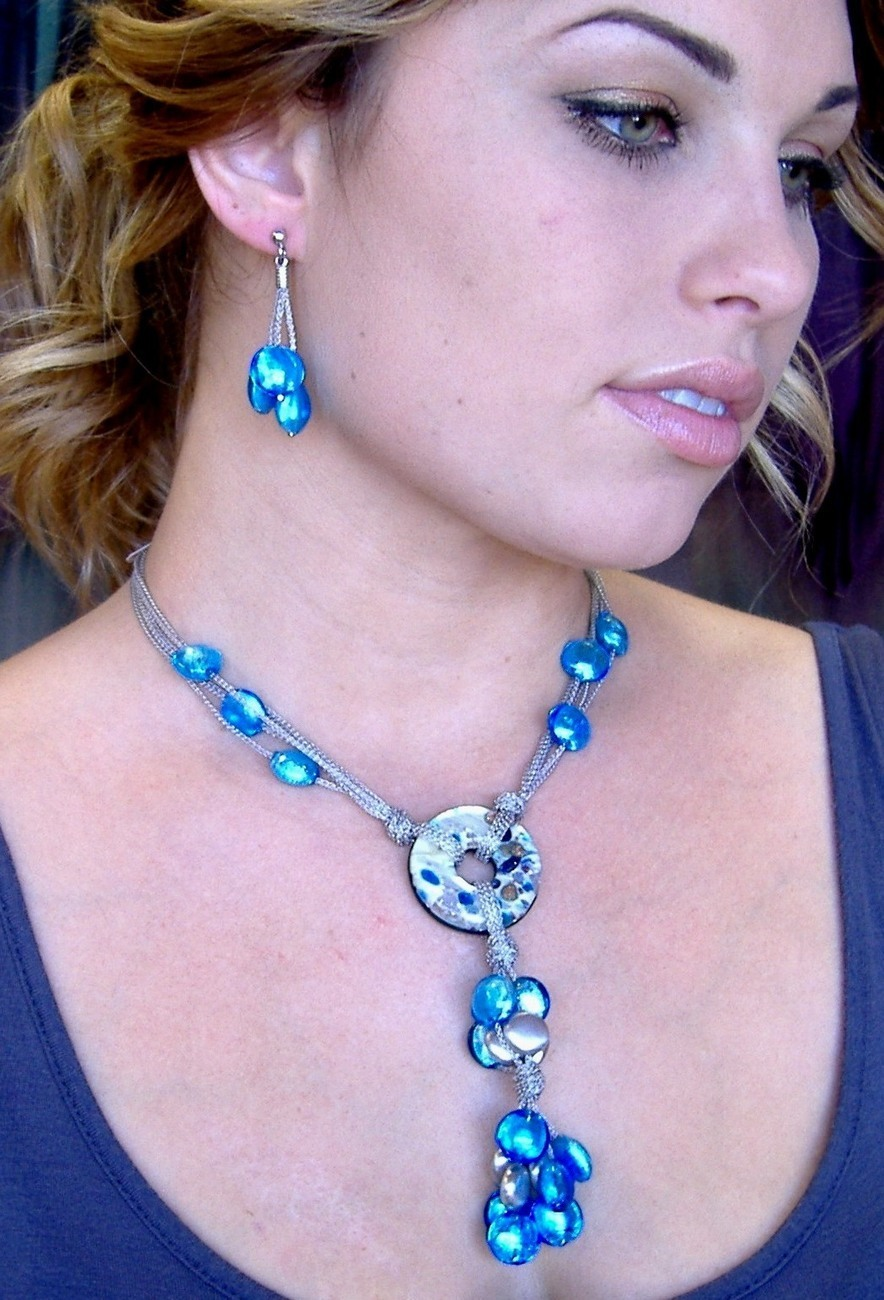 Blue Venetian Necklace Glass Bead Medallion Sterling Silver