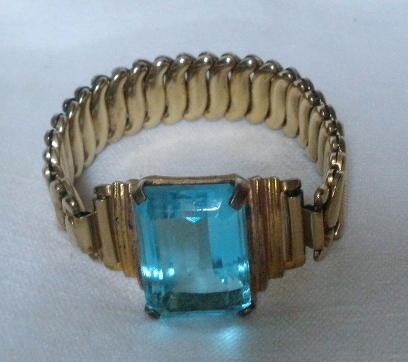 ANTIQUE EARLY 1900'S GILDED  BRACELET FLEX - FIT TYPE 12K GOLD BLUE CUT ROCK