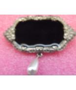 Black Onyx Brooch w/Pearl Drop - $9.99