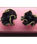 Retro Earrings Black Fabric Ruffled w/gold Trim... - $2.95