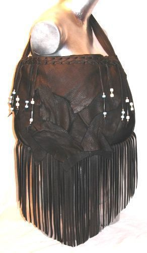 Designer Handbag, Leather Purse with Fringe and Beads