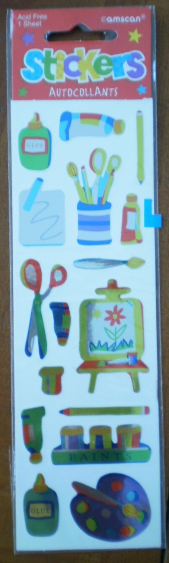 Amscan Stickers Kids Crafts Glue Paint Scissors 1 sheet NIP 15633 Acid Free