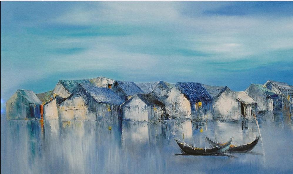 Dawn, a 24 high x 40 commission original oil painting on canvas by Phuong