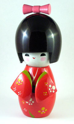 So Cute! WOODEN GEISHA DOLL IN A RED KIMONO
