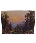 Vintage 1940s Litho Art Print Forest & Mountain... - $8.00
