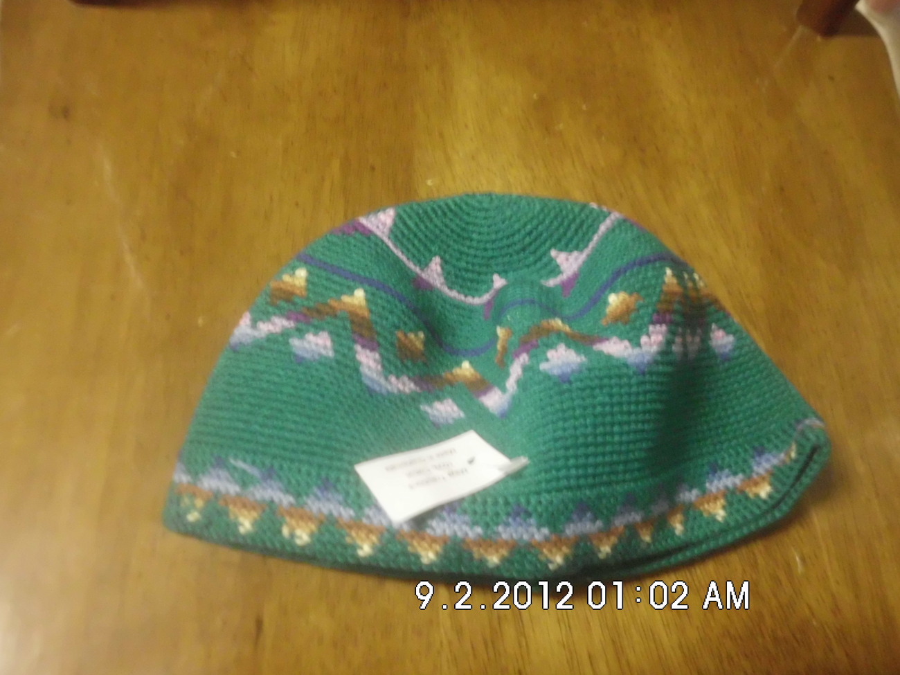Childrens Crochet Kufi Hat Green W/ Design Handmade