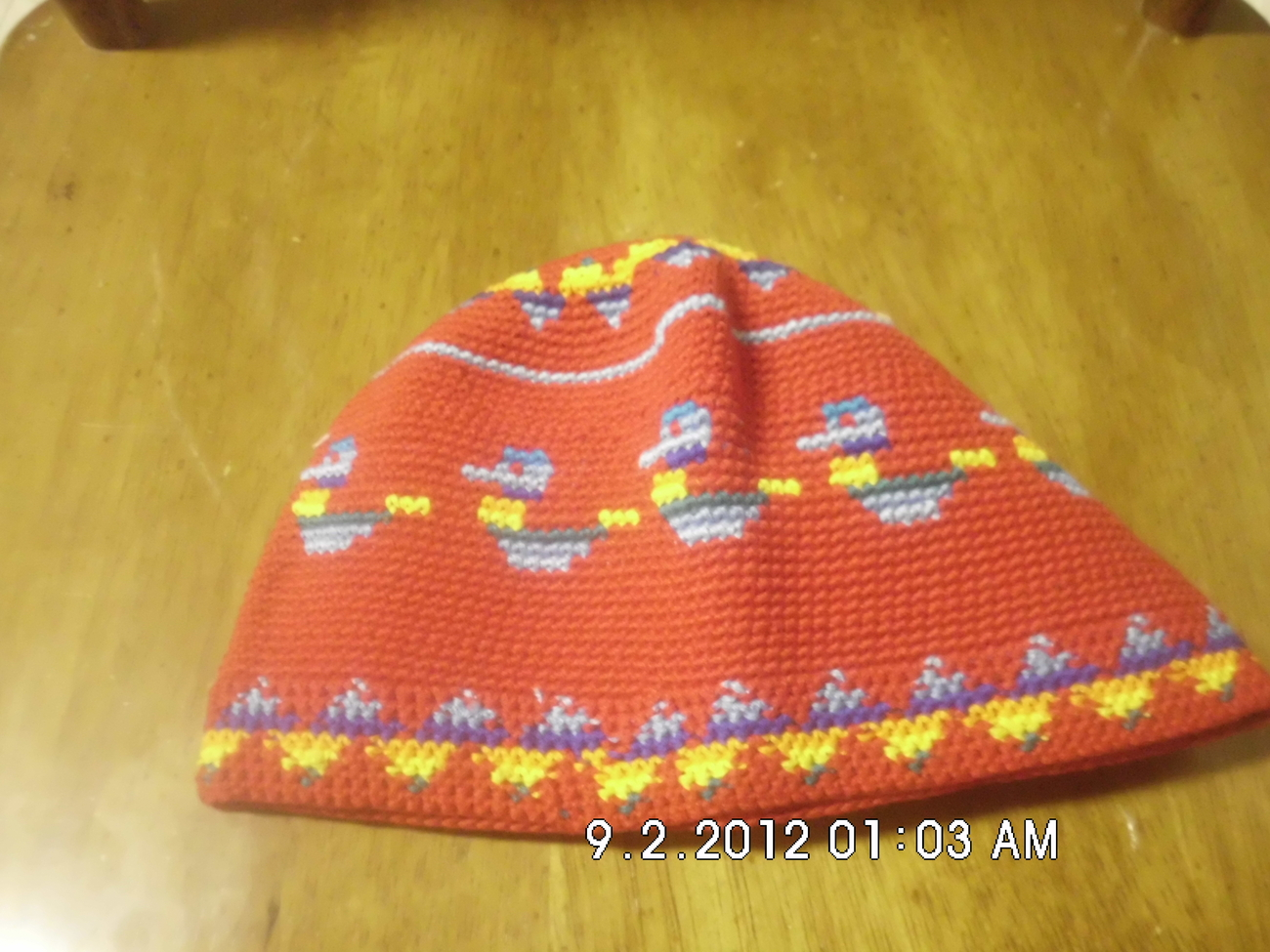 Childrens Crochet Kufi Hat Red W/ Design Handmade
