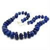 Dark Blue Stone Agate Necklace Handmade