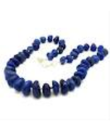 Dark Blue Stone Agate Necklace Handmade - $14.99