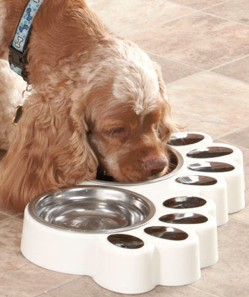 Image 0 of  White Paw Print Food & Water Buffets Dog Or Cat