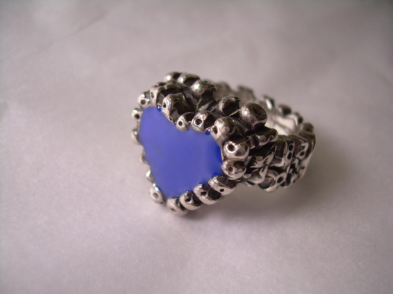 PHILIPPE AUDIBERT Blue Enamel Heart Ring retail over $100!! SIZE 4 *FREE SHIP*