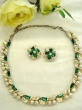 Lisner Green Rhinestone Faux Pearl Necklace Ear... - $30.00