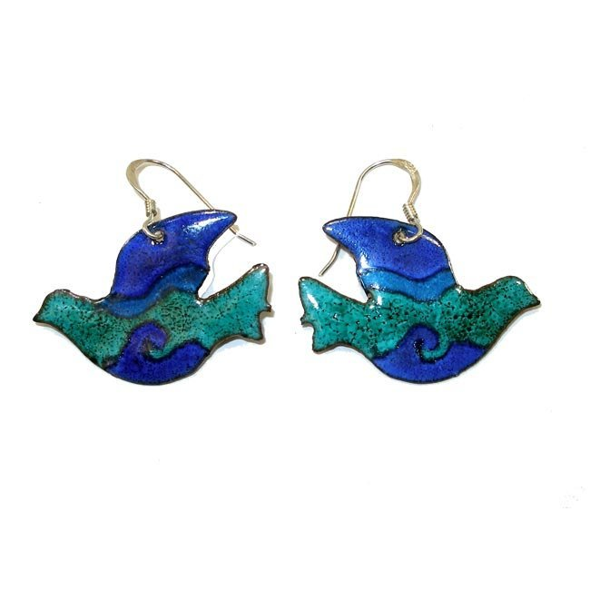 Blue  Green Enamel Dove Earrings Handmade