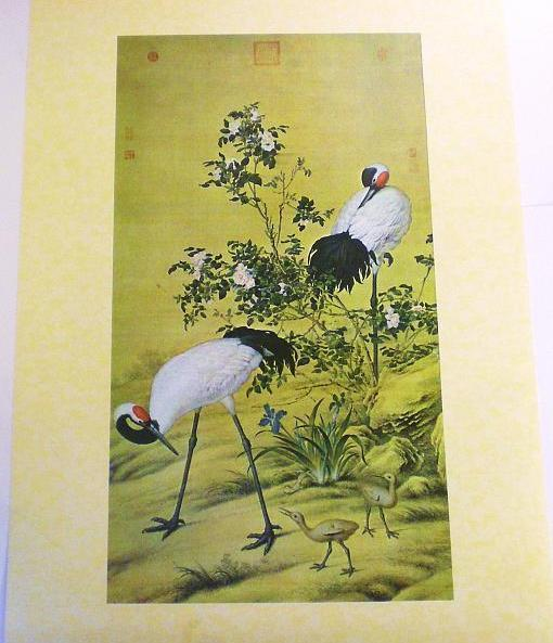 Cranes and Flowers by Lang Shih-ning high quality reprint