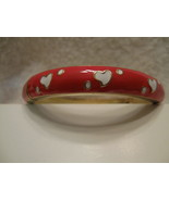 Bracelet, Red with white hearts, avg size - $9.00