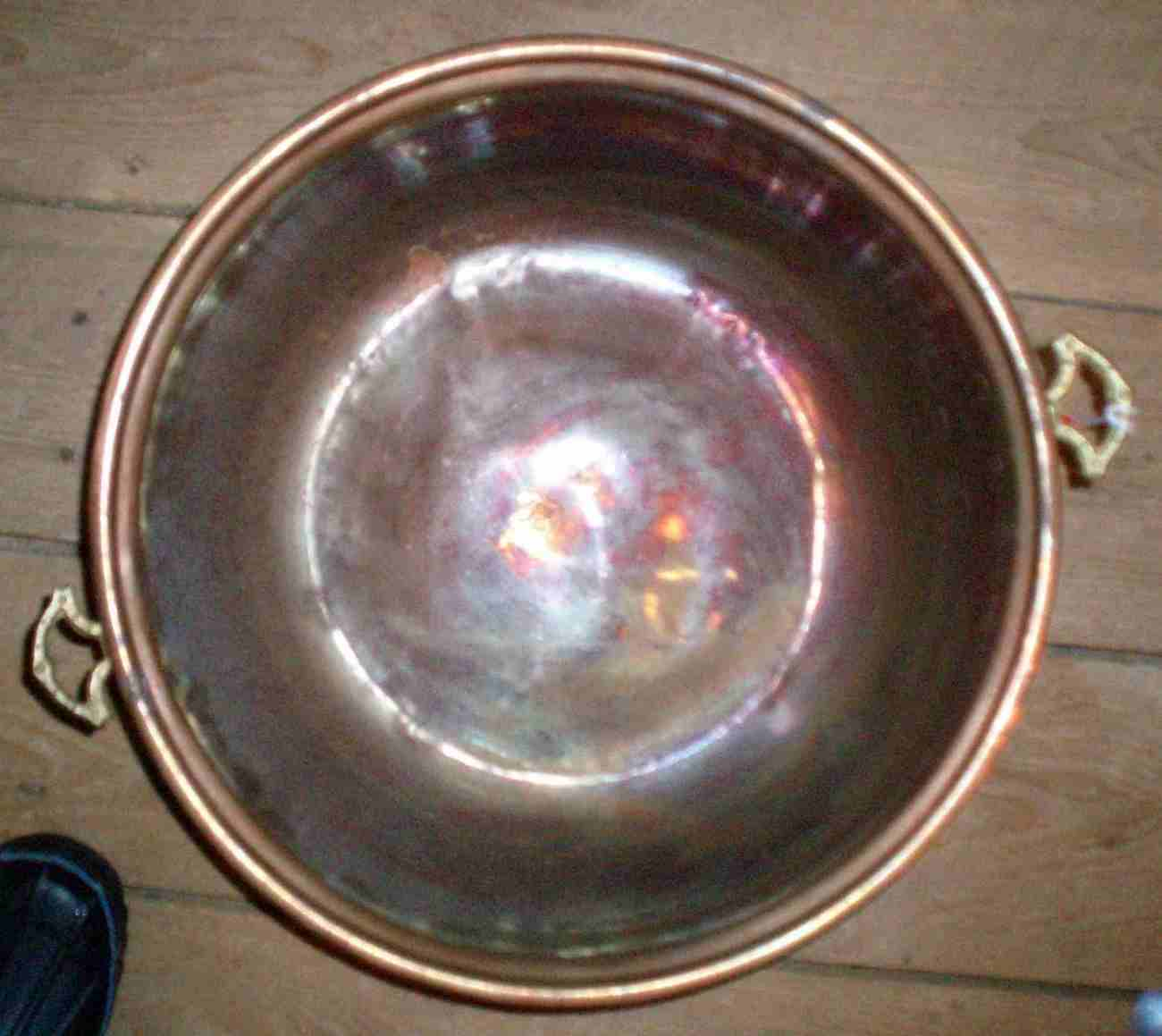 copper brass handled pot cookware antique pan
