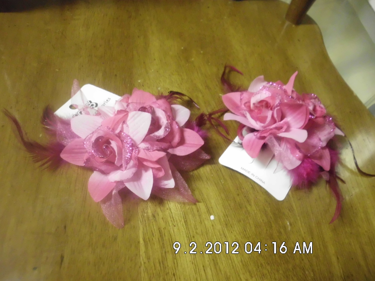 Set of 2 Pink Flower and Feather Ponytail Holder/Hairclip