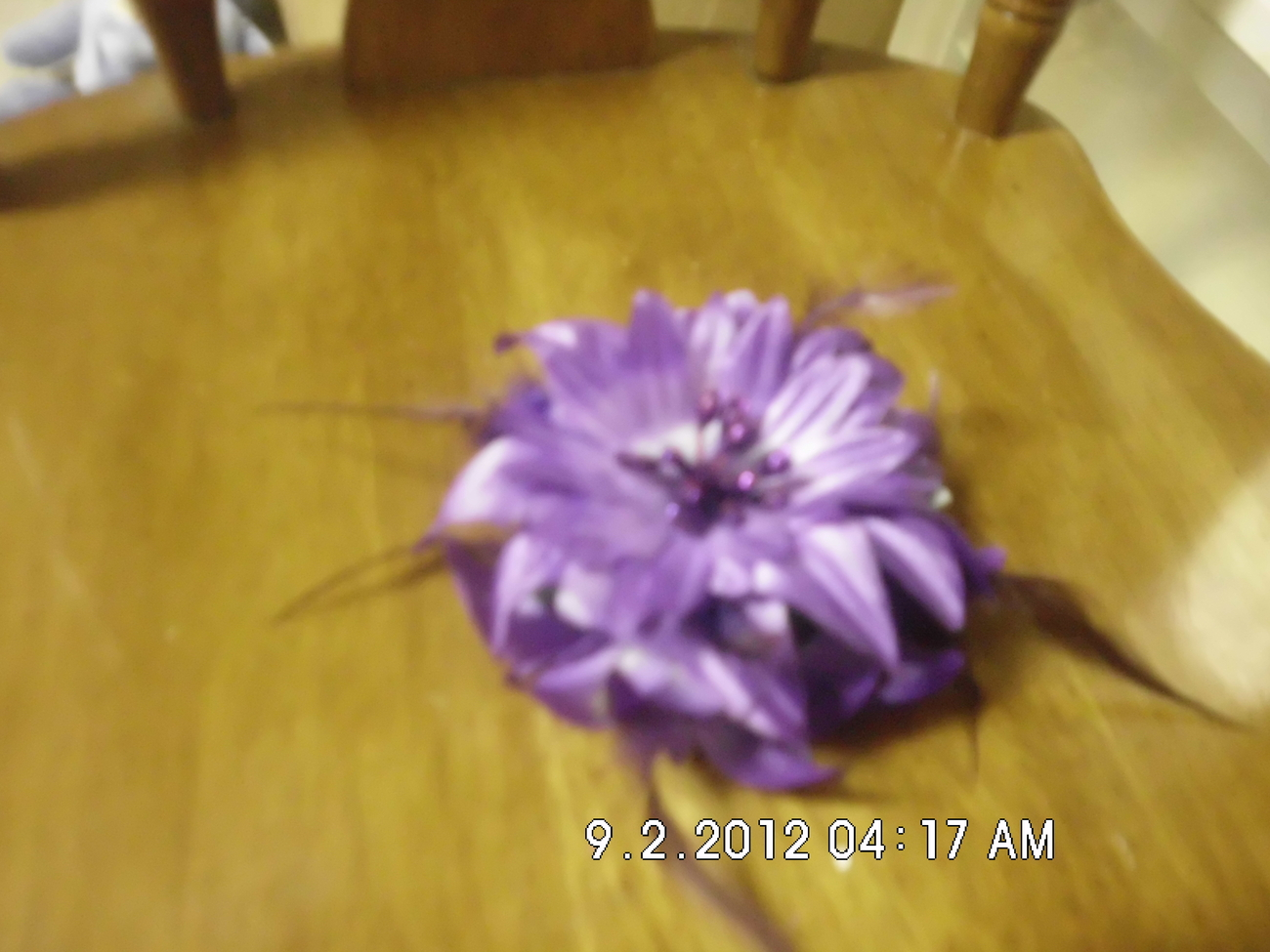 Purple Hairclip With Large Purple Flower and Feathers
