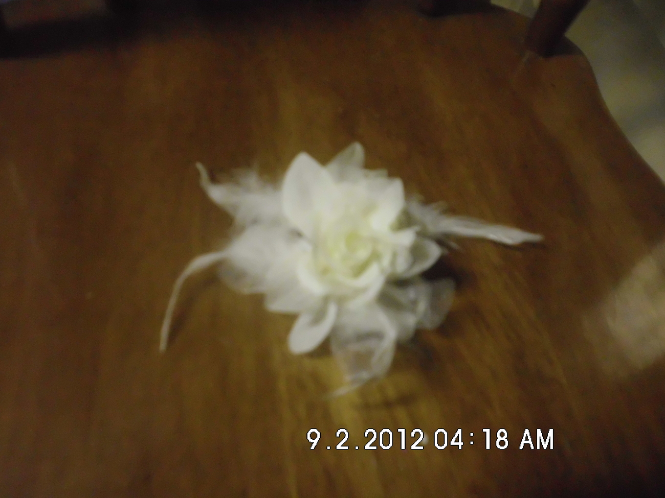 White Flower With Feather Ponytail Holder Handmade