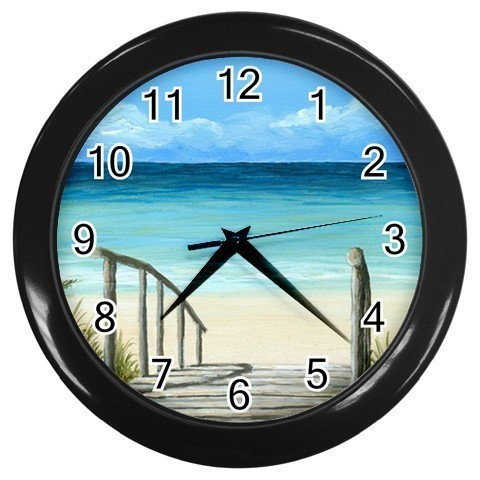 Black Wall Clock from Art painting Sea View 147 ocean
