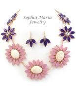Gold tone stunning flower evening necklace set ... - $31.67